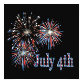 July 4th 13 cm x 13 cm square invitation card
