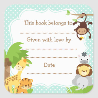 Jungle Baby Shower Bookplate sticker blue