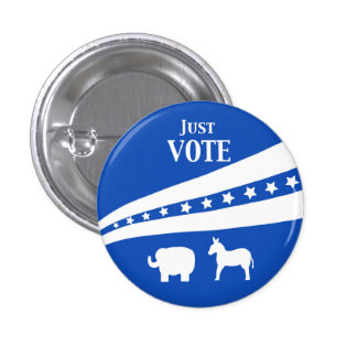 Just Vote White Blue Stars Donkey Elephant 3 Cm Round Badge