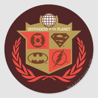 Justice League Defenders of the Planet Round Sticker