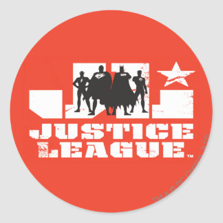 Justice League Logo and Character Silhouettes Round Sticker