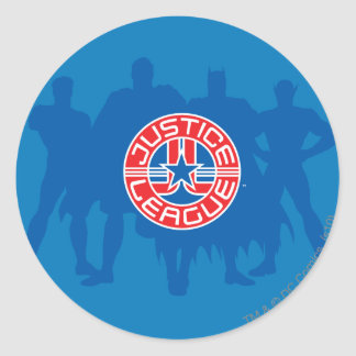 Justice League Logo and Solid Character Background Round Sticker