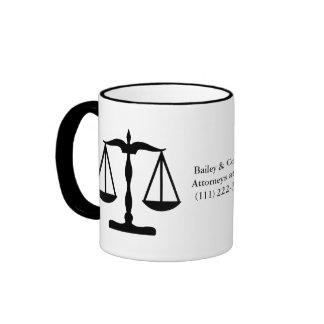 Justice Scales ~ Black Ringer Mug