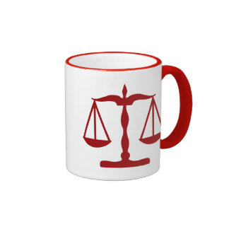 Justice Scales ~ Red Ringer Mug