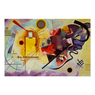 Kandinsky Yellow Red Blue Abstract Canvas Painting Poster