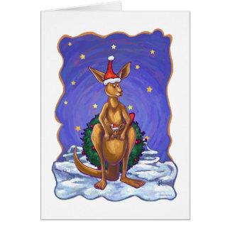 Kangaroo Christmas Starry Night Note Card