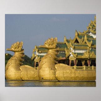 Karaweik Hall is a landmark of Yangon, locating Poster