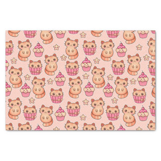 "Kawaii Cute Cats and Cupcakes Pink Pattern 10"" X 15"" Tissue Paper"