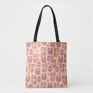 Kawaii Cute Cats and Cupcakes Pink Pattern Tote Bag