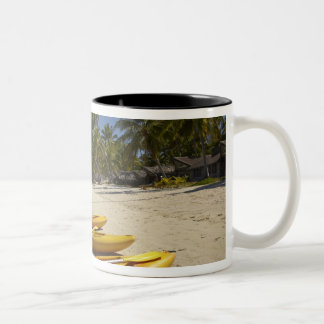 Kayaks on the beach, Plantation Island Resort Two-Tone Mug