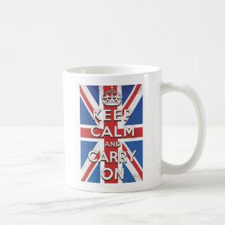 Keep Calm and Carry On British Flag Basic White Mug