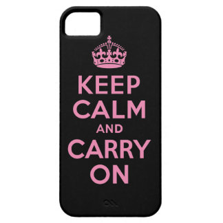 Keep Calm And Carry On Pink and Black iPhone 5 Cover