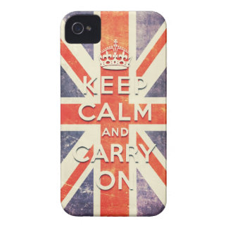keep calm and carry on vintage Union Jack flag iPhone 4 Case