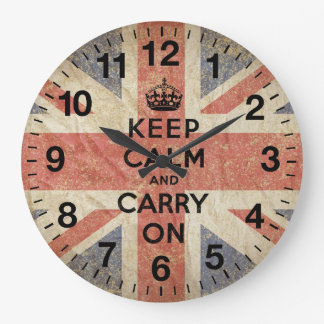 Keep Calm and Carry On with UK  Flag Wall Clocks