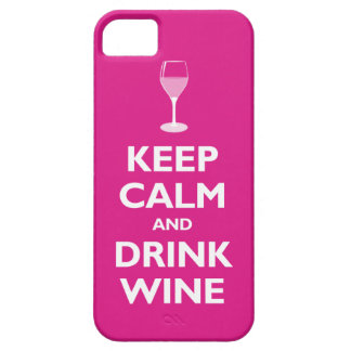 Keep Calm and Drink Wine (hot pink) iPhone 5 Cases