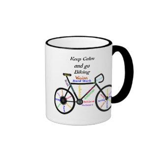 Keep Calm and go Biking, with Motivational Words Ringer Mug