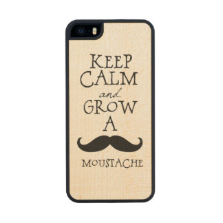 Keep Calm and Grow A Mustache Wood iPhone SE/5/5s Case