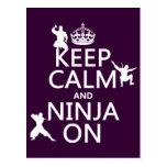 Keep Calm and Ninja On (in any colour) Postcard
