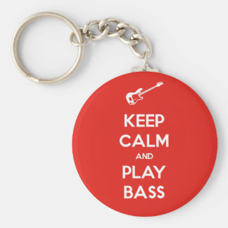 Keep Calm and Play Bass Basic Round Button Key Ring