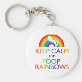 Keep Calm and Poop Rainbows Unicorn Basic Round Button Key Ring