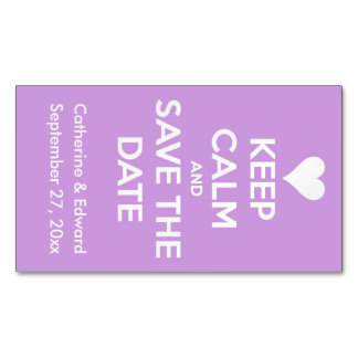Keep Calm and Save the Date Lavender and White Magnetic Business Cards
