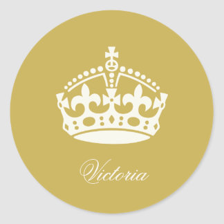 Keep Calm Gold Crown Logo Chic Party Favor Sticker