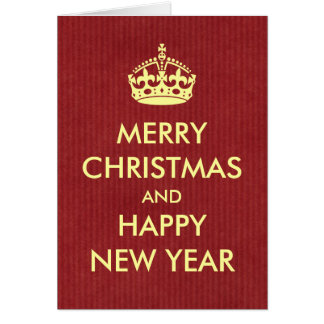 Keep Calm Style Christmas Greeting Red Kraft Paper Greeting Card