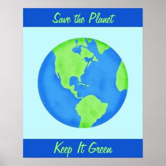 Keep It Green Save Earth Environment Blue Wall Art Poster