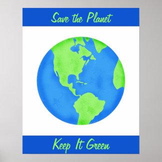 Keep It Green Save Earth Environment Wall Art Poster