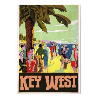 Key West Florida Travel Vintage Artwork 13 Cm X 18 Cm Invitation Card