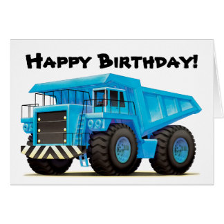 Kid's Big Blue Dump Truck Greeting Card