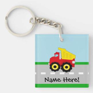 Kids Boys Construction Dumptruck Single-Sided Square Acrylic Key Ring