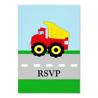 Kids Construction Dumptruck Matching RSVP 9 Cm X 13 Cm Invitation Card