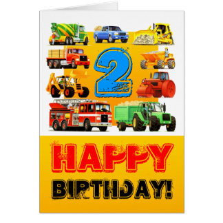 Kid's Custom Construction Trucks 2nd Birthday Greeting Card