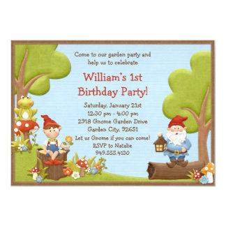 Kids Gnome Birthday Party Invitation