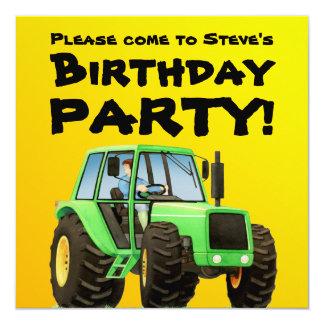 Kid's Green Tractor Party 13 Cm X 13 Cm Square Invitation Card