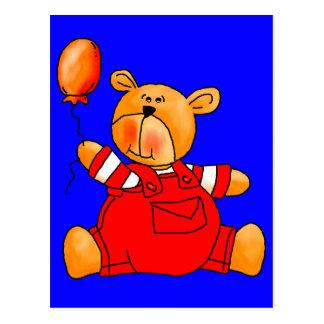 Kid's Red Bear Balloons Postcard