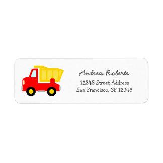 Kids Return Address Labels with toy dump truck