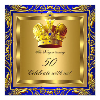 King Queen Royal Blue Gold Elite Birthday Party 13 Cm X 13 Cm Square Invitation Card