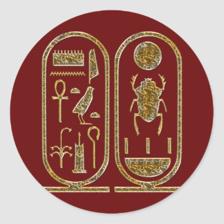King Tut  Hieroglyphics Round Sticker