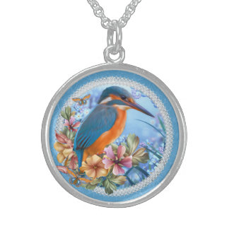 Kingfisher Medium Sterling Silver Round Necklace