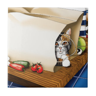 Kitchen Cat Small Square Tile