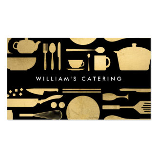 Kitchen Collage in Faux Gold Foil on Black Pack Of Standard Business Cards