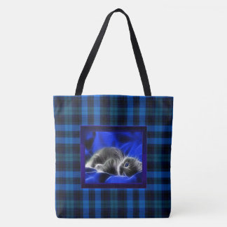 Kitten Soft Blue Plaid Overnight Tote Bag