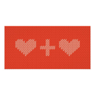 Knitted Two Hearts Custom Photo Card