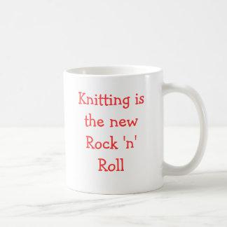 Knitting is the new Rock 'n' Roll Basic White Mug
