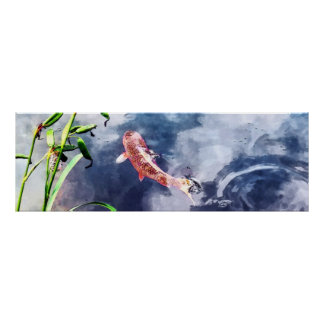 Koi in Swirling Water Poster