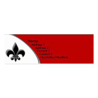 KRW Black and Red Fleur De Lis Two Tone Pack Of Skinny Business Cards