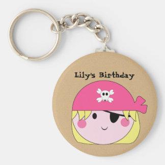 KRW Cute Custom Pink Pirate Birthday Keychain