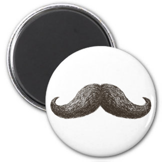 La Moustache (Light) 6 Cm Round Magnet
